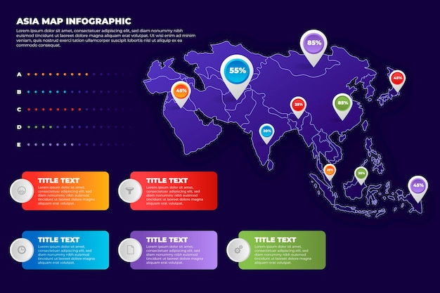 그라데이션 아시아지도 infographic
