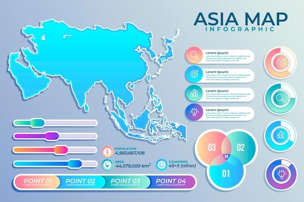 グラデーションアジアマップインフォグラフィック