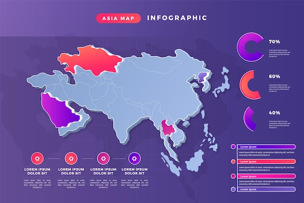 Gradient asia map infographic