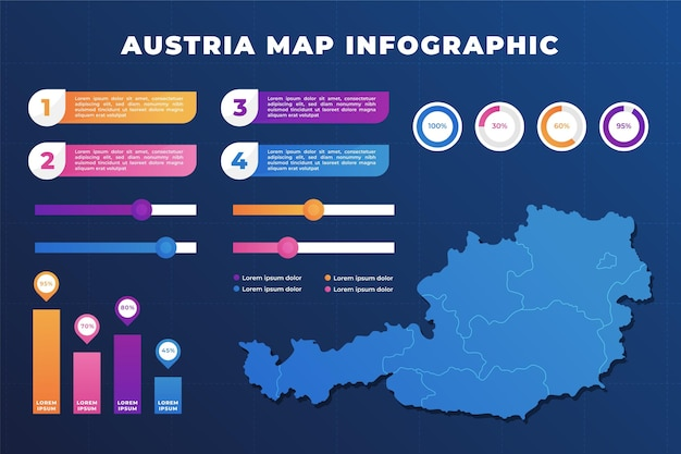Gradient austria map infographic