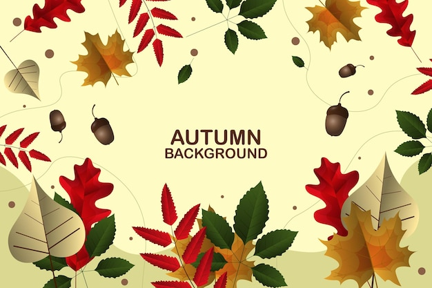 Gradient autumn banner background with leaves vector illustration