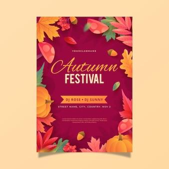 Gradient autumn flyer template