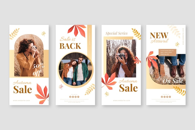 Gradient autumn instagram posts collection with photo