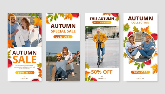 Gradient autumn instagram stories collection with photo
