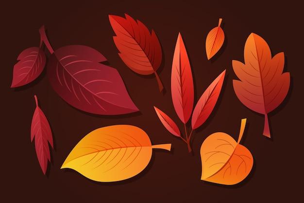 Collezione di foglie autunnali sfumate