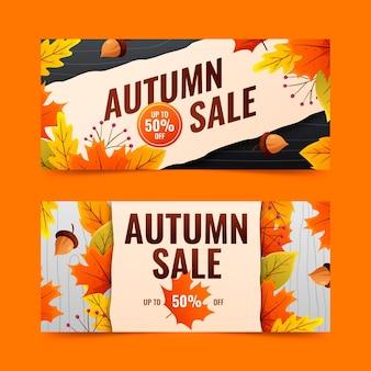 Gradient autumn sale banners set
