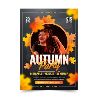 Gradient autumn vertical flyer template with photo