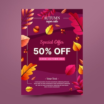 Modello di poster di vendita verticale autunno sfumato