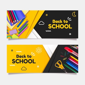 Gradient back to school banners set with photo