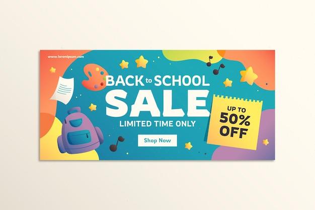 Gradient back to school horizontal banner template