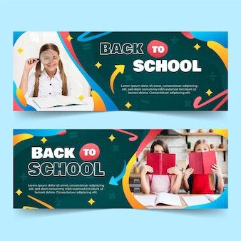 Gradient back to school horizontal banners set with photo