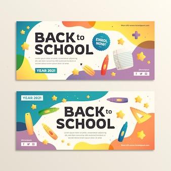 Gradient back to school horizontal banners set