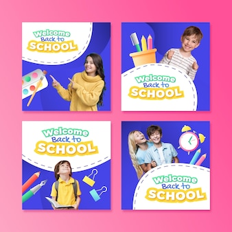 Gradient back to school instagram posts collection with photo