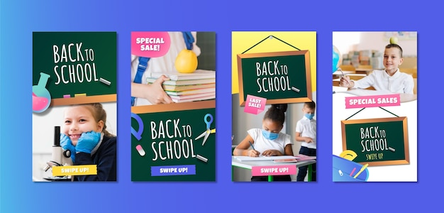 Gradient back to school instagram stories collection with photo