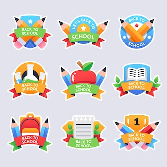 Gradient back to school labels collection