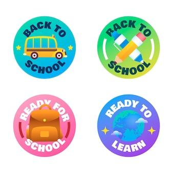 Gradiente ritorno alla collezione di etichette scolastiche