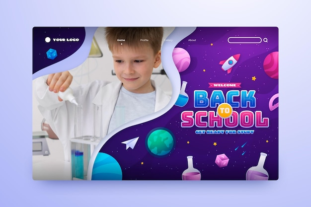 Gradient back to school landing page template with photo Free Vector