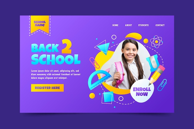 Gradient back to school landing page template with photo