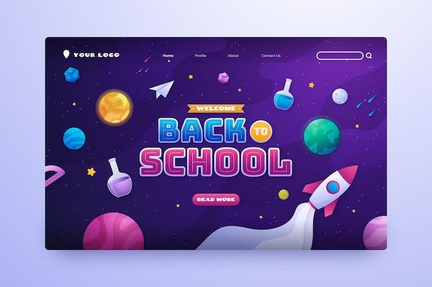 Modello di pagina di destinazione del gradiente di ritorno a scuola