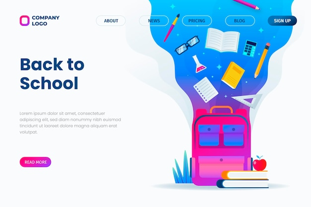 Gradient back to school landing page template
