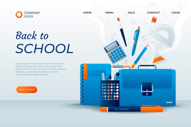 Gradient back to school landing page template Free Vector