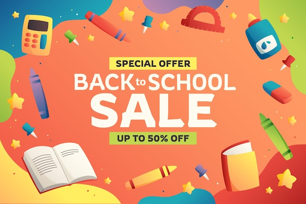 Gradient back to school sale background