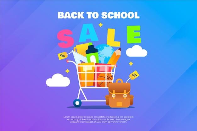 Gradiente di ritorno allo sfondo della vendita della scuola Vettore gratuito