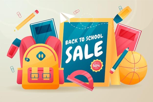 Gradiente di ritorno allo sfondo della vendita della scuola