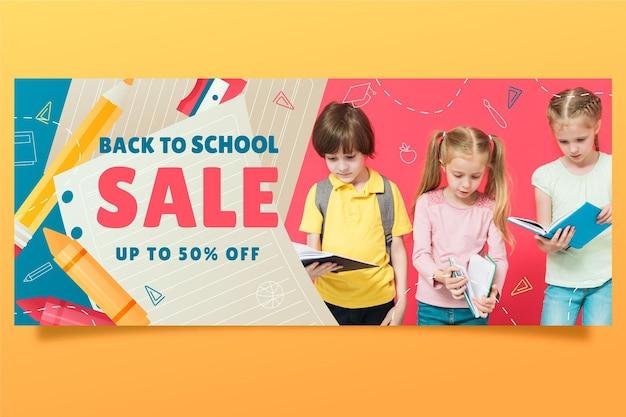 Banner di vendita gradiente di ritorno a scuola con foto