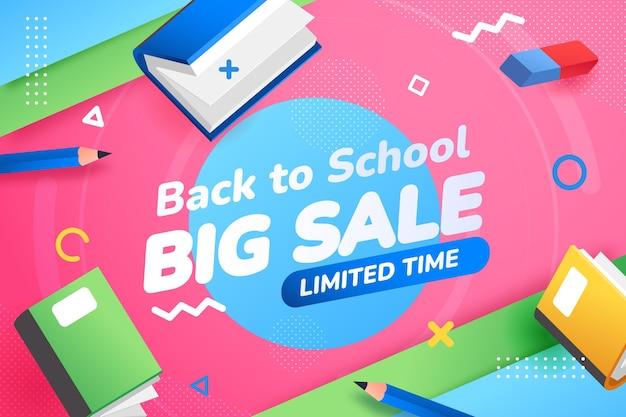 Gradiente di ritorno allo sfondo delle vendite scolastiche