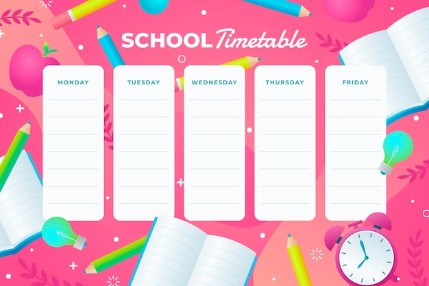Gradient back to school timetable template