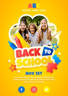 Gradient back to school vertical flyer template with photo