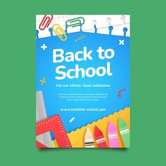 Modello di poster verticale di ritorno a scuola con gradiente