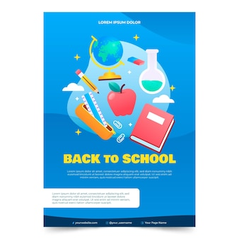 Gradient back to school vertical poster template