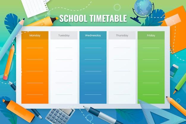 학교 시간표 템플릿으로 돌아가기 그라디언트