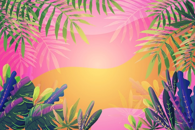 Gradient background and tropical leaves