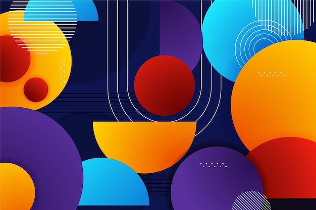 gradient background with different colorful shapes