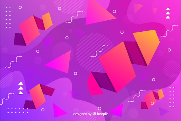 Gradient background with geometric shapes