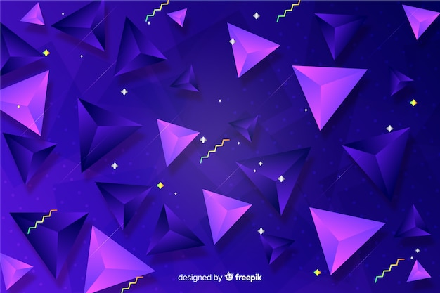 Gradient background with tridimensional shapes