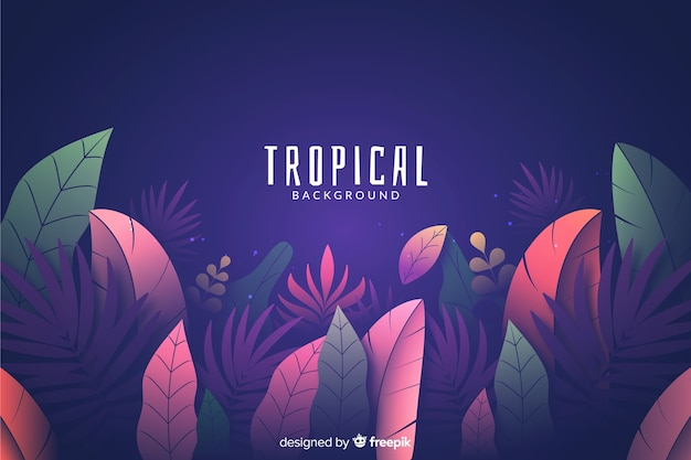 Gradient background with tropical leaves
