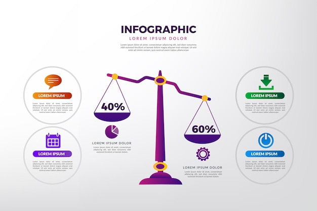 Gradient balance infographics template