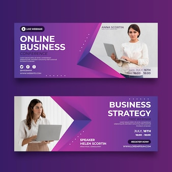 Gradient banner template with photo