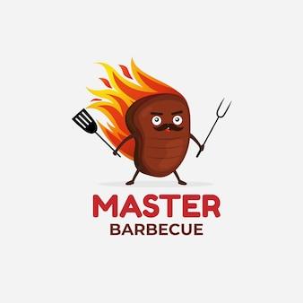 Шаблон логотипа градиент барбекю