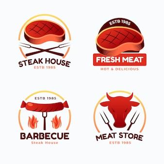 Набор шаблонов логотипов градиента барбекю