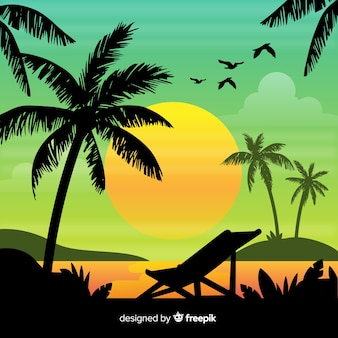 Gradient beach sunset landscape background