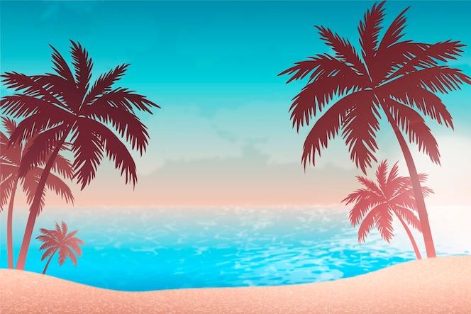 Gradient beach sunset landscape background