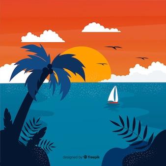 Gradient beach sunset landscape