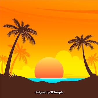 Gradient beach sunset landscape