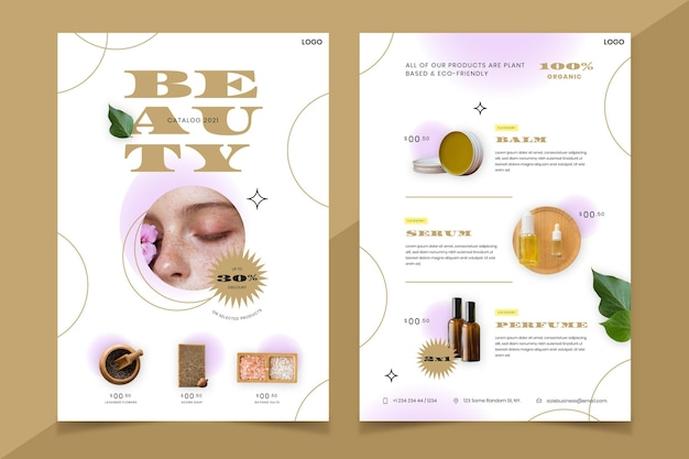 Gradient beauty product catalog with photo