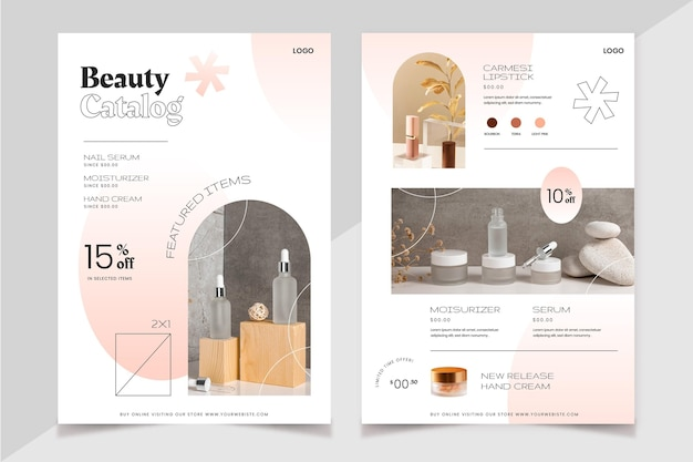 写真付きグラデーション美容製品カタログ